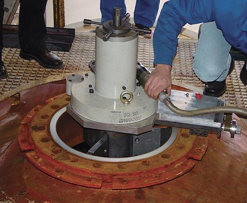 US150-ASB - Beveling machine with flange resurfacing module